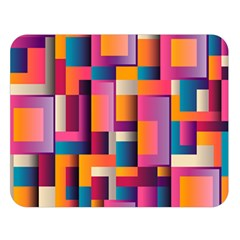 Abstract Background Geometry Blocks Double Sided Flano Blanket (large)