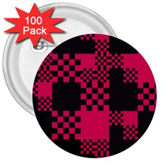 Cube Square Block Shape Creative 3  Buttons (100 pack)