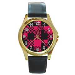 Cube Square Block Shape Creative Round Gold Metal Watch