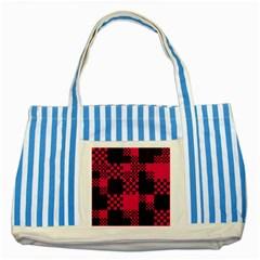Cube Square Block Shape Creative Striped Blue Tote Bag