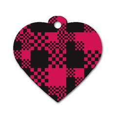 Cube Square Block Shape Creative Dog Tag Heart (one Side)