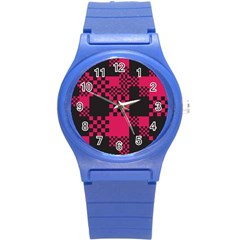 Cube Square Block Shape Creative Round Plastic Sport Watch (S)