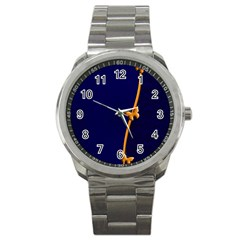 Greeting Card Invitation Blue Sport Metal Watch