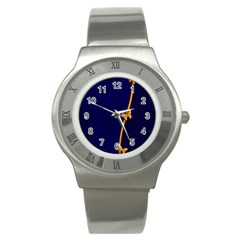Greeting Card Invitation Blue Stainless Steel Watch