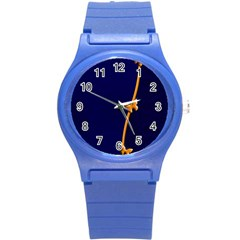 Greeting Card Invitation Blue Round Plastic Sport Watch (S)