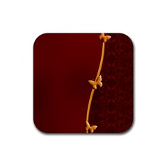 Greeting Card Invitation Red Rubber Square Coaster (4 Pack)