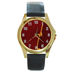 Greeting Card Invitation Red Round Gold Metal Watch
