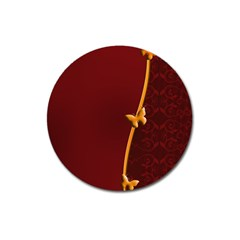 Greeting Card Invitation Red Magnet 3  (Round)