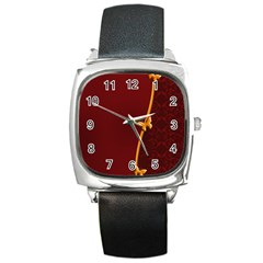 Greeting Card Invitation Red Square Metal Watch