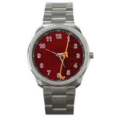 Greeting Card Invitation Red Sport Metal Watch