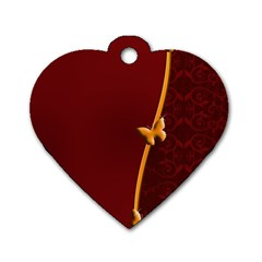 Greeting Card Invitation Red Dog Tag Heart (One Side)