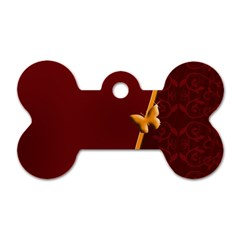 Greeting Card Invitation Red Dog Tag Bone (two Sides)