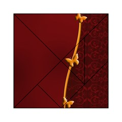 Greeting Card Invitation Red Acrylic Tangram Puzzle (6  x 6 )