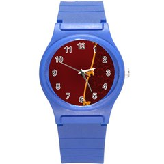 Greeting Card Invitation Red Round Plastic Sport Watch (S)