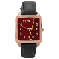 Greeting Card Invitation Red Rose Gold Leather Watch