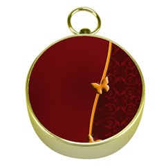 Greeting Card Invitation Red Gold Compasses