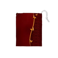 Greeting Card Invitation Red Drawstring Pouches (small)