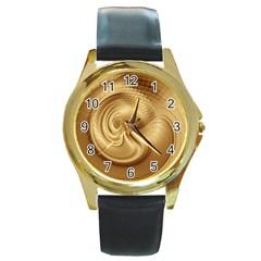 Gold Background Texture Pattern Round Gold Metal Watch