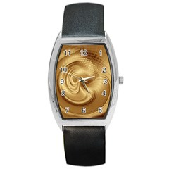 Gold Background Texture Pattern Barrel Style Metal Watch