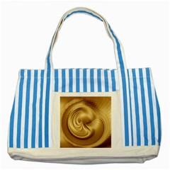 Gold Background Texture Pattern Striped Blue Tote Bag