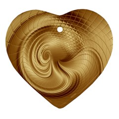 Gold Background Texture Pattern Heart Ornament (two Sides)