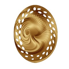 Gold Background Texture Pattern Oval Filigree Ornament (Two Sides)