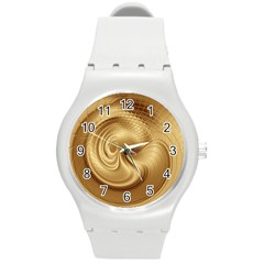 Gold Background Texture Pattern Round Plastic Sport Watch (M)
