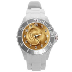 Gold Background Texture Pattern Round Plastic Sport Watch (L)