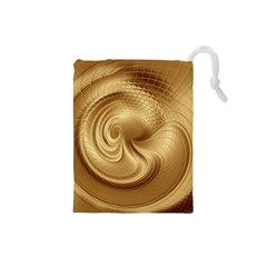 Gold Background Texture Pattern Drawstring Pouches (Small)