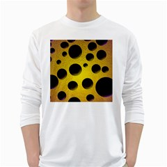 Background Design Random Balls White Long Sleeve T-Shirts