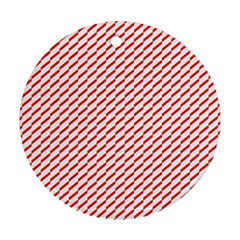 Pattern Red White Background Ornament (round)