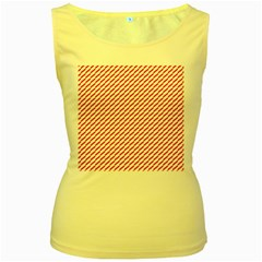 Pattern Red White Background Women s Yellow Tank Top