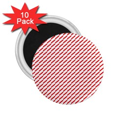 Pattern Red White Background 2.25  Magnets (10 pack)