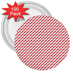 Pattern Red White Background 3  Buttons (100 pack)