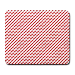 Pattern Red White Background Large Mousepads