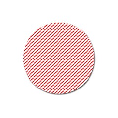 Pattern Red White Background Magnet 3  (round)