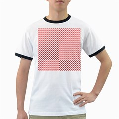Pattern Red White Background Ringer T Shirts
