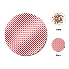 Pattern Red White Background Playing Cards (round)