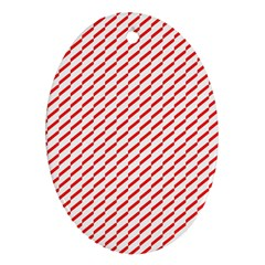 Pattern Red White Background Oval Ornament (two Sides)