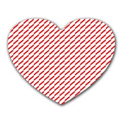 Pattern Red White Background Heart Mousepads