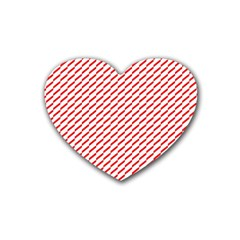 Pattern Red White Background Rubber Coaster (heart)