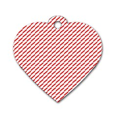 Pattern Red White Background Dog Tag Heart (one Side)