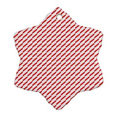 Pattern Red White Background Ornament (Snowflake)
