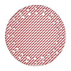Pattern Red White Background Round Filigree Ornament (Two Sides)