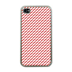 Pattern Red White Background Apple iPhone 4 Case (Clear)