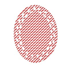Pattern Red White Background Ornament (Oval Filigree)