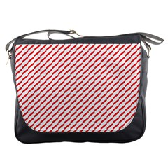 Pattern Red White Background Messenger Bags