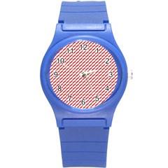 Pattern Red White Background Round Plastic Sport Watch (S)
