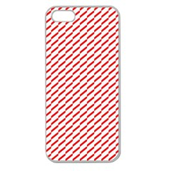 Pattern Red White Background Apple Seamless iPhone 5 Case (Clear)