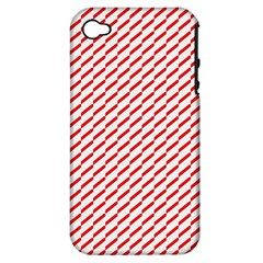 Pattern Red White Background Apple iPhone 4/4S Hardshell Case (PC+Silicone)